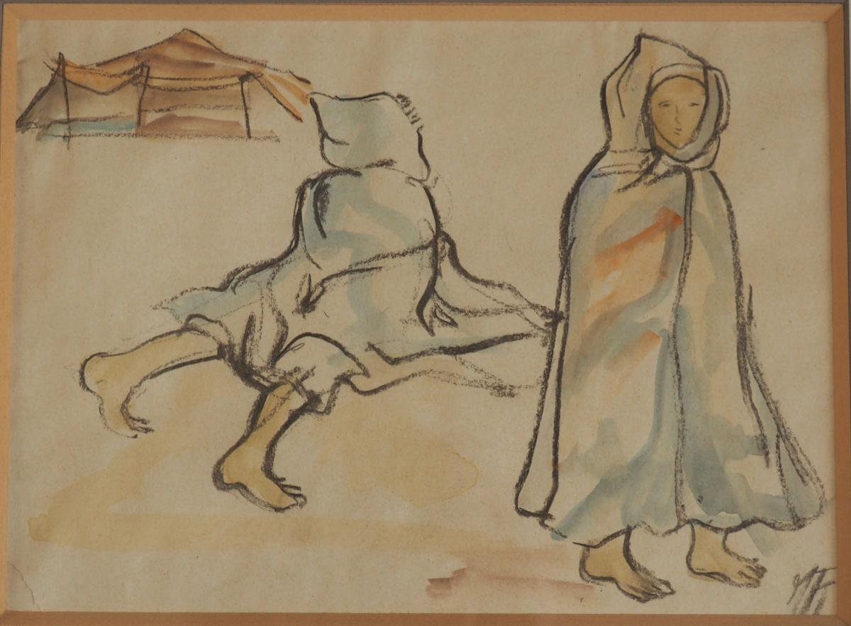 Orientaliste, Portrait d'Enfant, Monogramme.