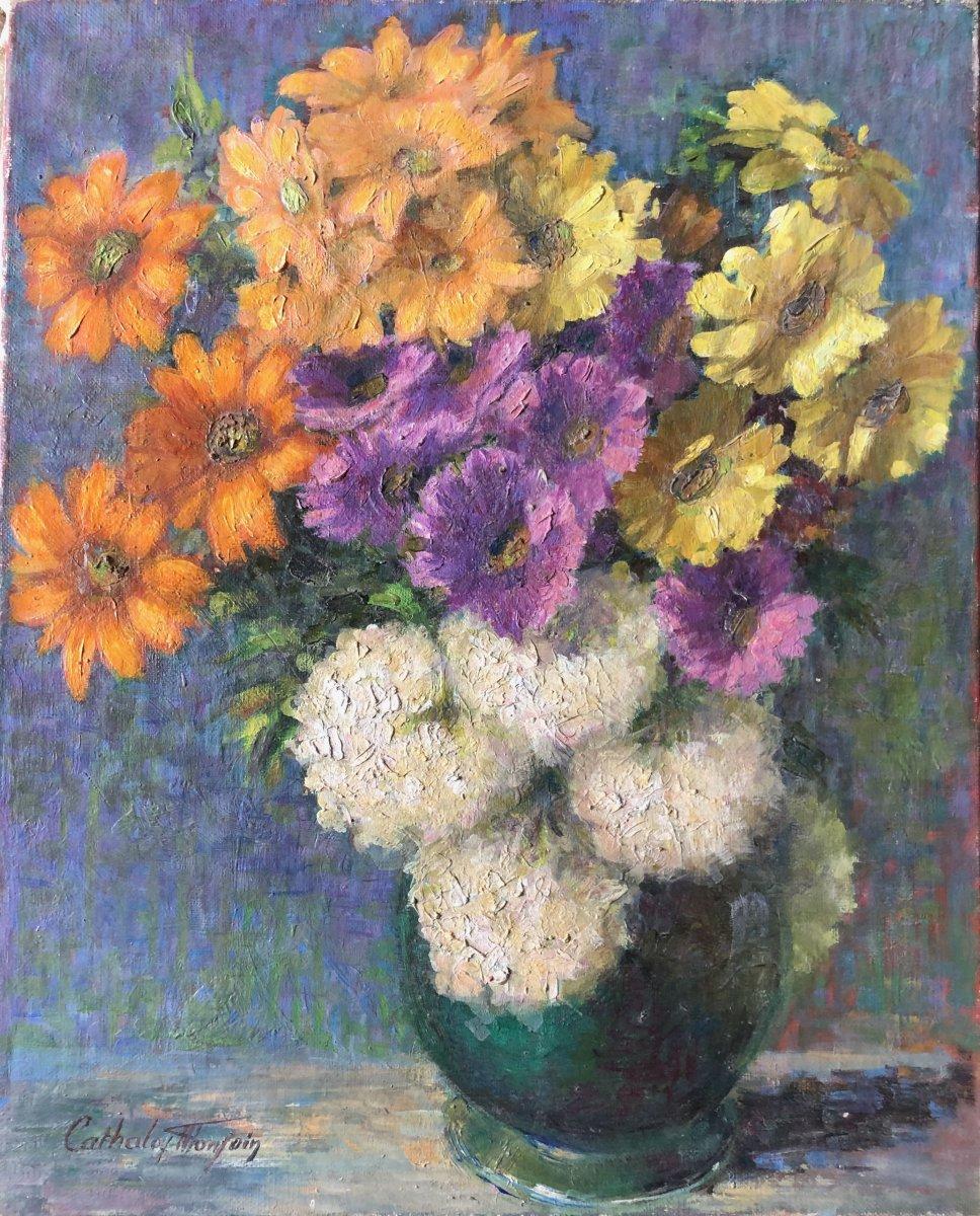 Composition au vase de fleurs.