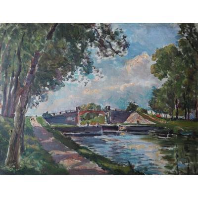 Ecluse et canal en bourgogne , début XX me.