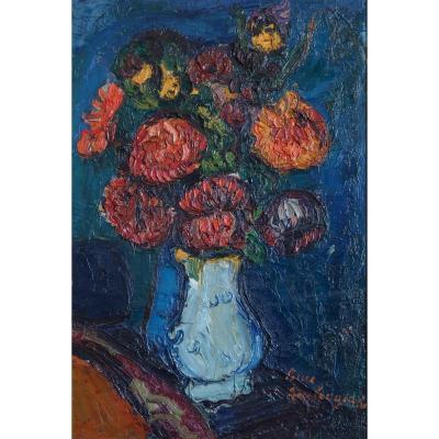 Ambrogiani , Dahlias au Vase Bleu , Vie Silencieuse.