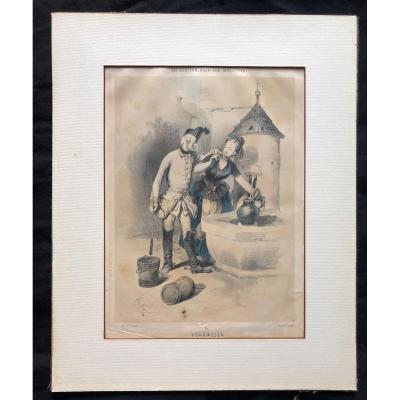 Franz Gerasch , soldats, 6 gravures