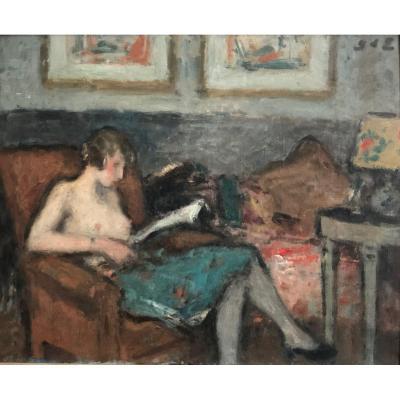 Georges D'Espagnat (1870-1950) - La femme du peintre dans un intérieur