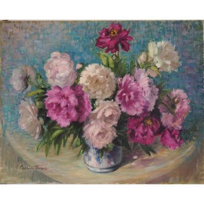 Nelly Cathala-Mongoin , Grand bouquet de roses et pivoines