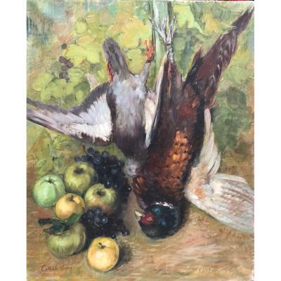Nelly Cathala-Mongoin , Nature morte au faisan, perdrix, pommes et raisins.