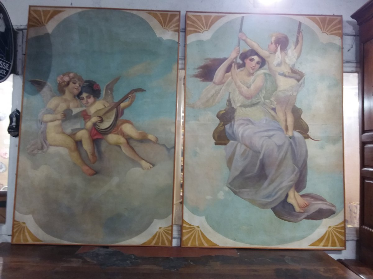Pair Of Canvases, Merry-go-round Sky