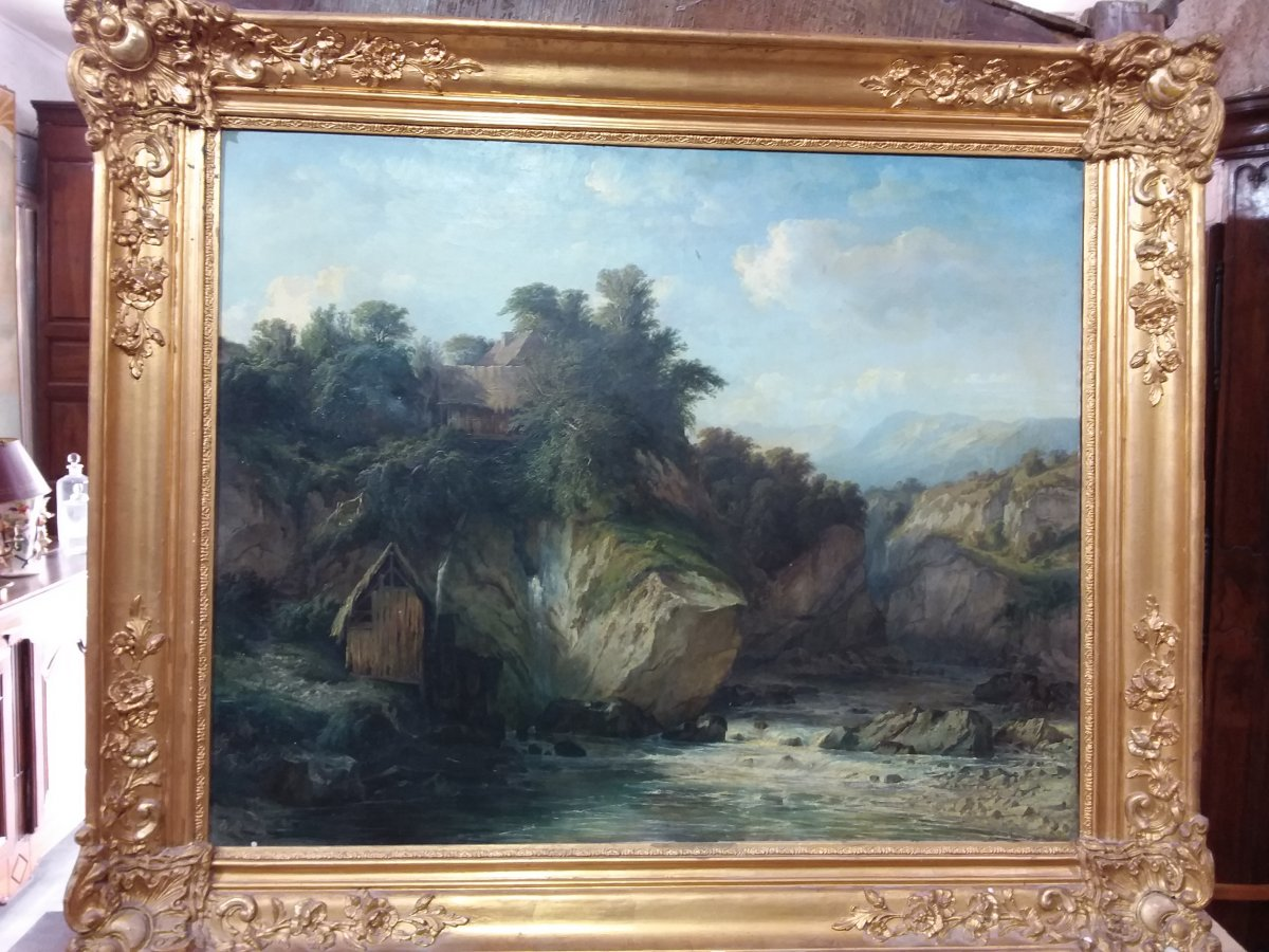 Painting Representing A Landscape, A River In A Rocky Canyon With A Mill