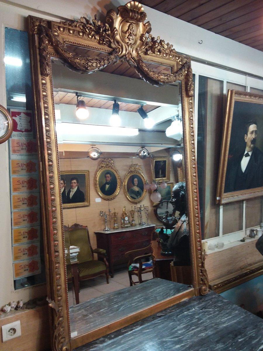 Miroir De Style Louis XVI Napoléon III En Bois Et Stuc Doré