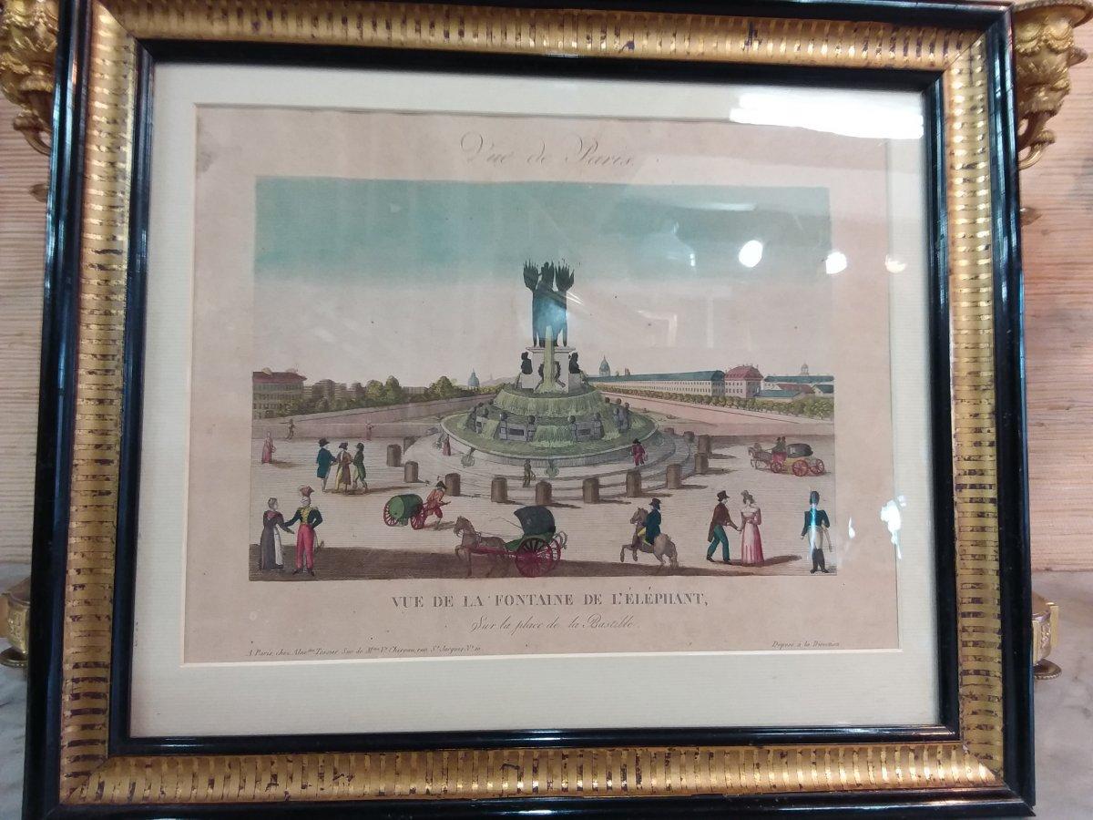 """Gravure en couleur """"vue de Paris"""" """" vue de la fontaine de l'éléphant """""""
