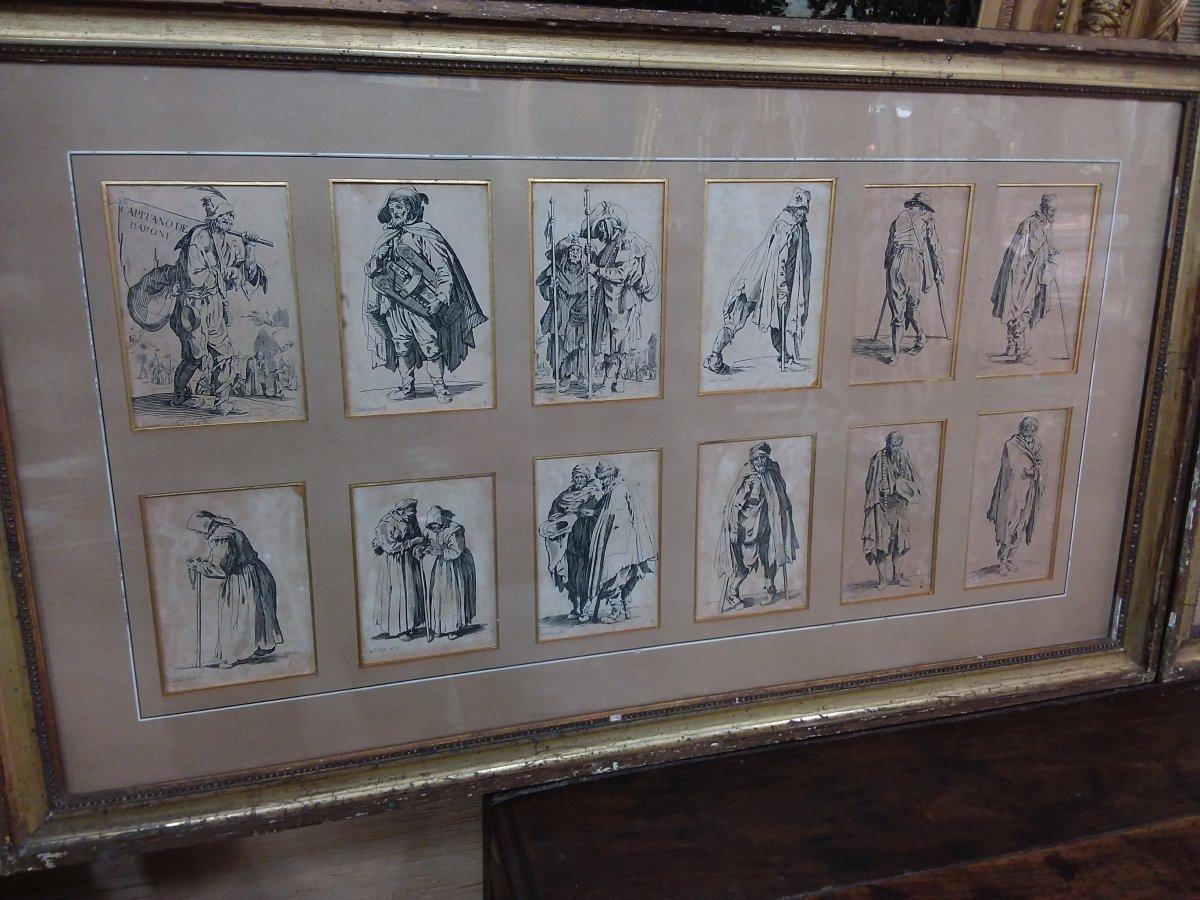 Série De 24 Gravures Encadrées En Deux Parties De La Série Des Gueux De Jacques Callot-photo-3