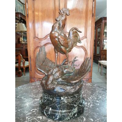 Bronze Subject Rooster Slaying An Eagle By Masson