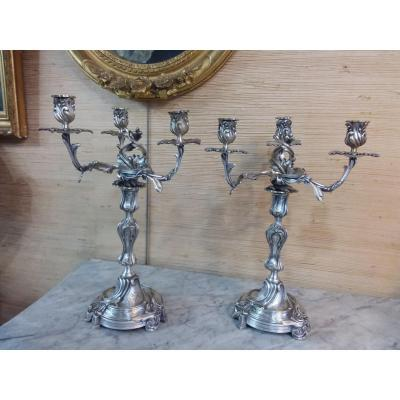 Pair Of Rocaille Candlesticks In Silver Bronze With Three Arms Of Light