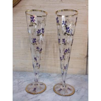 Pair Of Cornet Vases On Crystal Piedouche Decorated With Enamelled Violets And Gilding