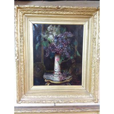 Framed Painting Representing A Bouquet Of Lilac In A Vase, After A Baudit By Léonce Furt