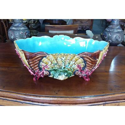 Important Polychrome Earthenware Planter Decorated With Shells And Corals Sarreguemines