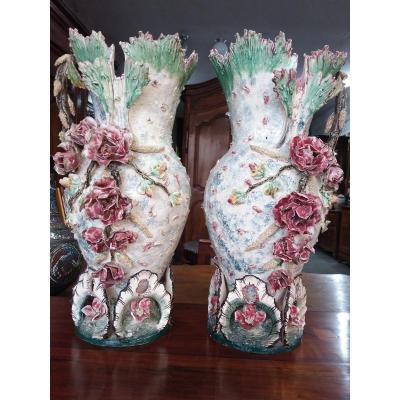 Paire De Vases En Barbotine Fin XIXe