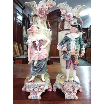 Pair Of Barbotine Vases With Character Decor