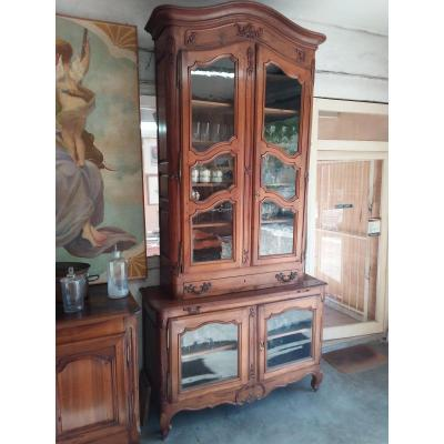 Imposing Two-body Buffet In Walnut, Eighteenth Time, Old Glazing
