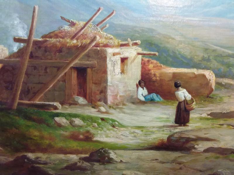 Tableau Représentant Un Paysage Vallonné,au Premier Plan Une Habitation En Ruine Et Personnages-photo-2