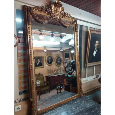 Louis XVI Napoleon III Style Mirror In Wood And Golden Stucco