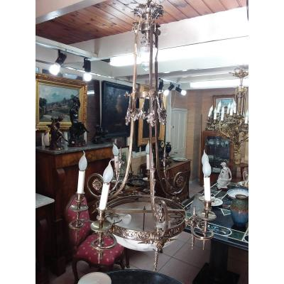 Lustre En Bronze Argenté Et Vasque En Albatre à 9 Lumières