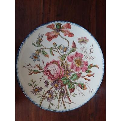 Plat Décoratif En Faience Décoration Florale , Longchamp Terre De Fer