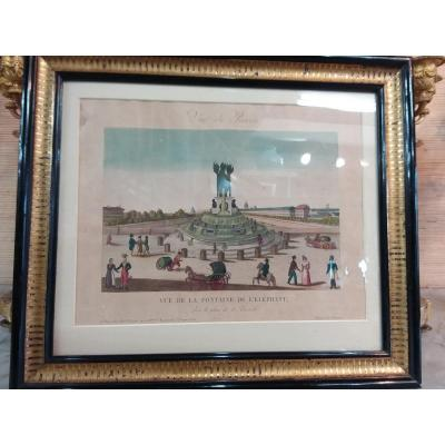 "Color Engraving ""view Of Paris"" ""view Of The Elephant Fountain"""