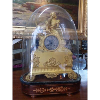 Pendule Romantique En Bronze Doré Sous Globe époque XIXe