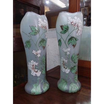 Pair Of Art Nouveau Enameled Glass Vases