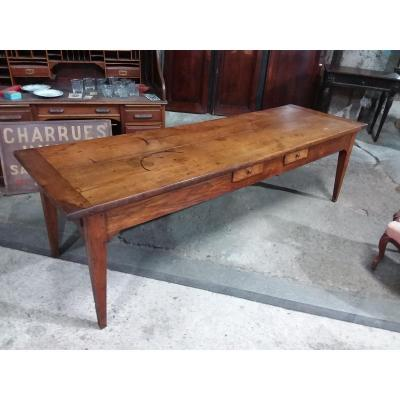 Table De Ferme En Châtaignier Massif XIXème