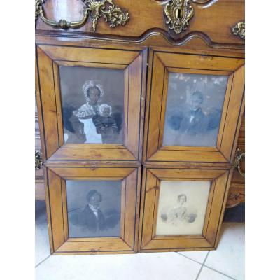 Suite Of 4 Drawings, Family Portraits, Framed Signed And Dated 1836