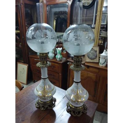 Paire De Lampe à Pétrole En Porcelaine époque Fin XIXème