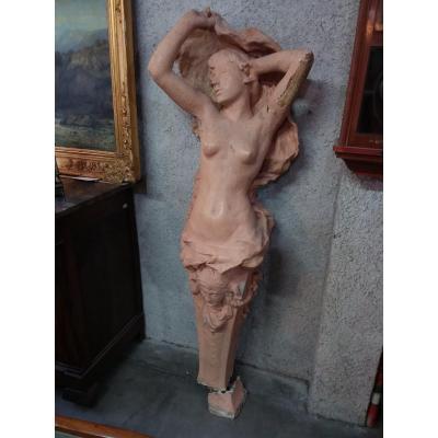 Cariatide En Plâtre Modèle d'Antonin Injalbert
