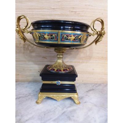 Coupe En Marbre Noir De Belgique Monture En Bronze Ciselé Et Doré  Signé F Barbedienne