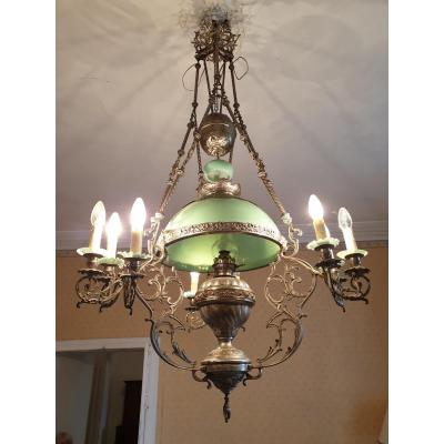 Suspension Chandelier In Silver Brass And Opaline, Napoleon III Period
