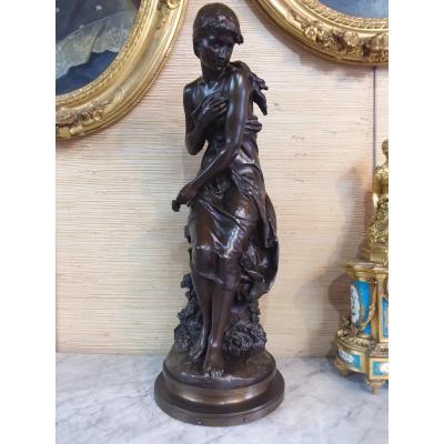 "Bronze Titled ""primroses, Salon Des Beaux Arts 1893"" Signed Kossowski"