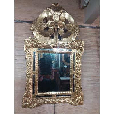 Small Mirror With Beads In Golden Wood Eighteenth