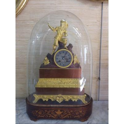 Restoration Clock In Gilt Bronze And Patinated Under Globe