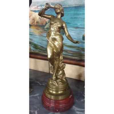 """Bronze """"jeune femme au roseau"""" par Julien CAUSSÉ patine mordorée sur base en marbre griotte"""