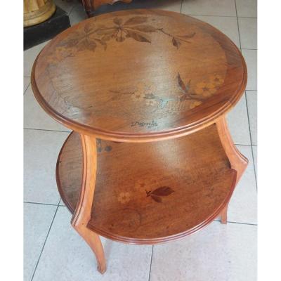 Table à Thé à Double Plateau Circulaire Signé Louis Majorelle