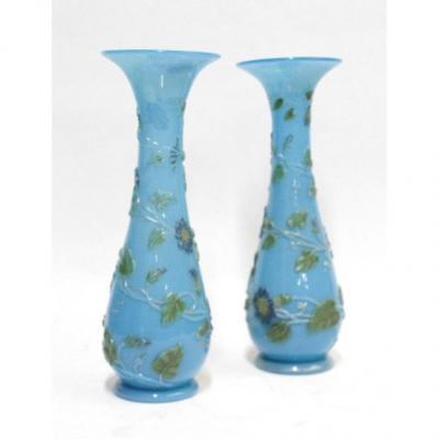 Paire De Vases Corolle , Decor De Liserons Sur Fond d'Opaline Bleue
