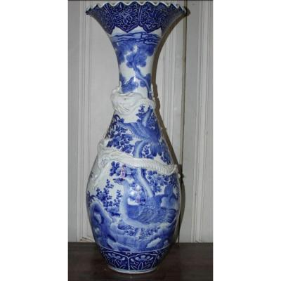 Very Large Blue And White Porcelain Vase, Japan Meiji Period