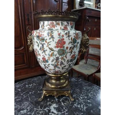 Important Vasse Sarreguemines Monture Bronze/laiton Aux Têtes De Faunes
