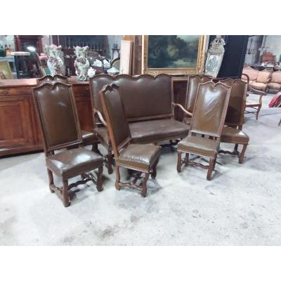 Salon , Canapé Et 6 Chaises De Style Louis XIV Os De Mouton d'époque XIXème