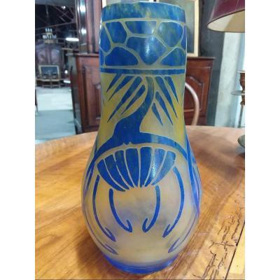 """Vase en verre """"le verre français """" signature au berlingot"""