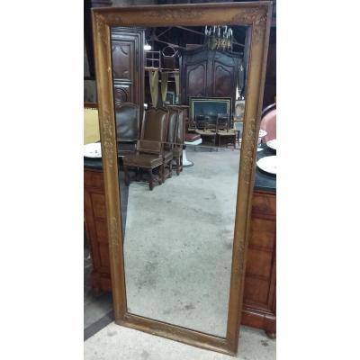 Restoration Mirror In Golden Stuccoed Wood