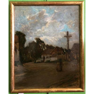 Oil on cardboard 50x40cm (Without frame) Signed and dated 1905 lower left.