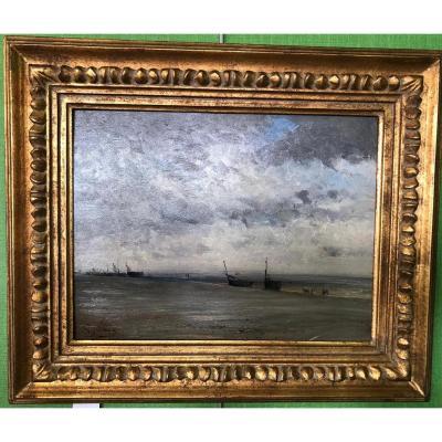 """JUNDT Gustave """"Bateaux sur la plage de Berck"""""""