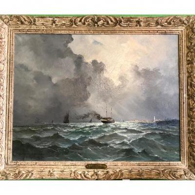 """MAILLARD Emile """"Entrée du port de Boulogne"""""""