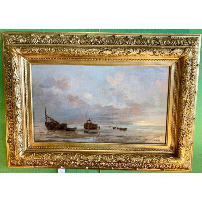 A.pletz «bateaux De Pêche Sur La Plage à Berck»