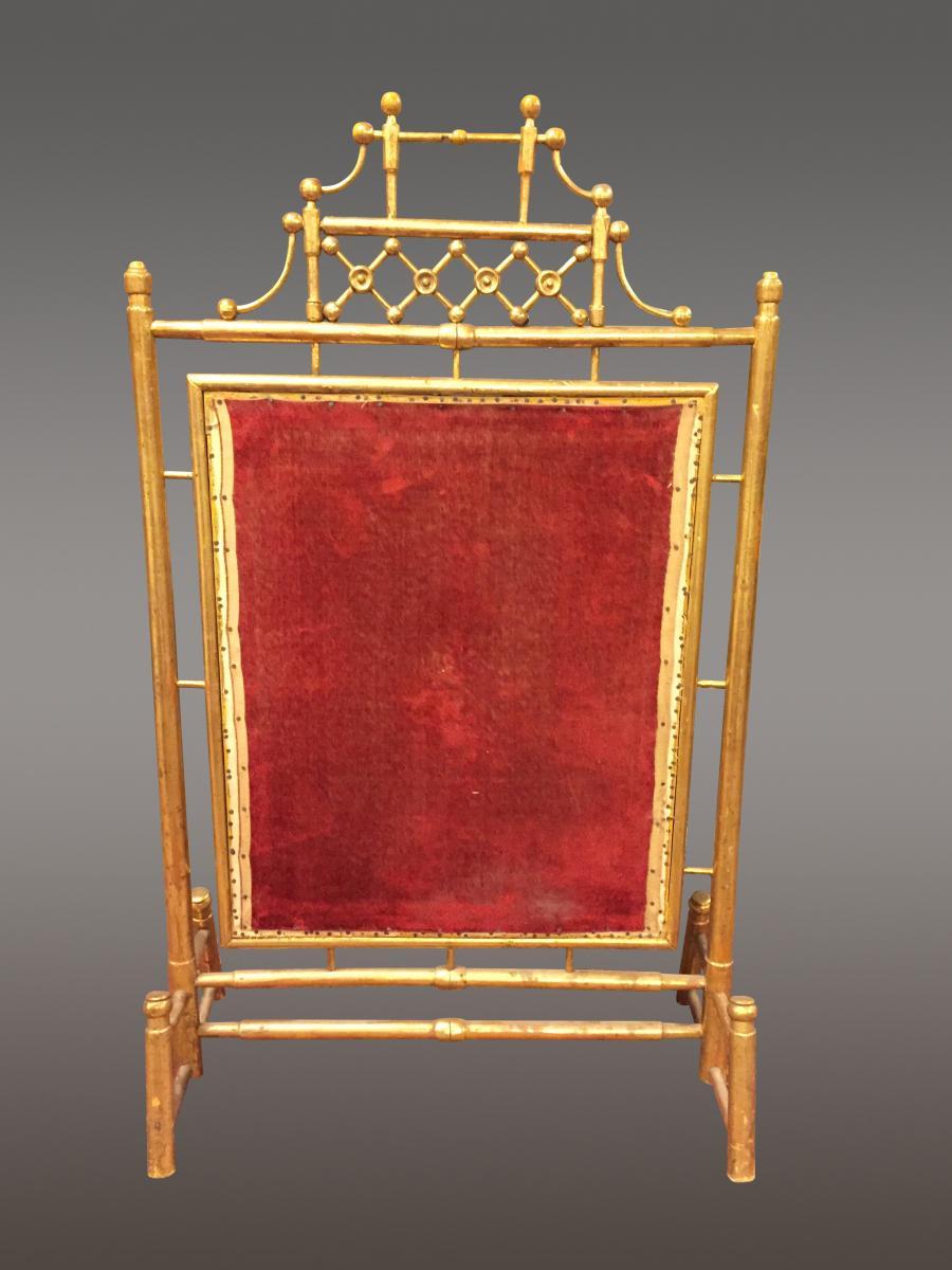 pare feu napol on iii bambou bois dor chenets accessoires de chemin e. Black Bedroom Furniture Sets. Home Design Ideas